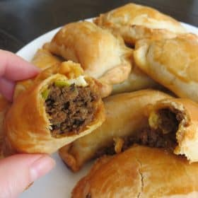 Empanadas with ground beef and onion filling