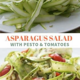 shaved asparagus salad with pesto