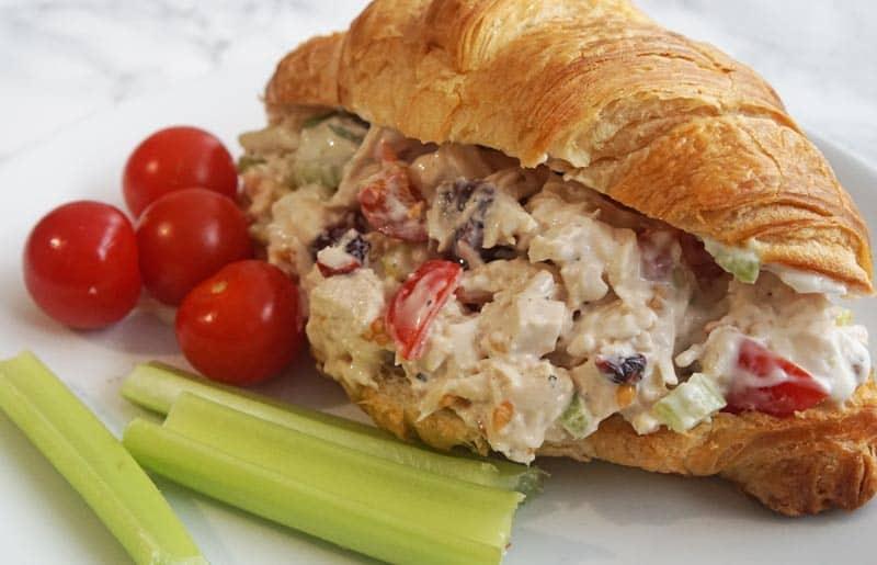 chicken salad sandwich on croissant