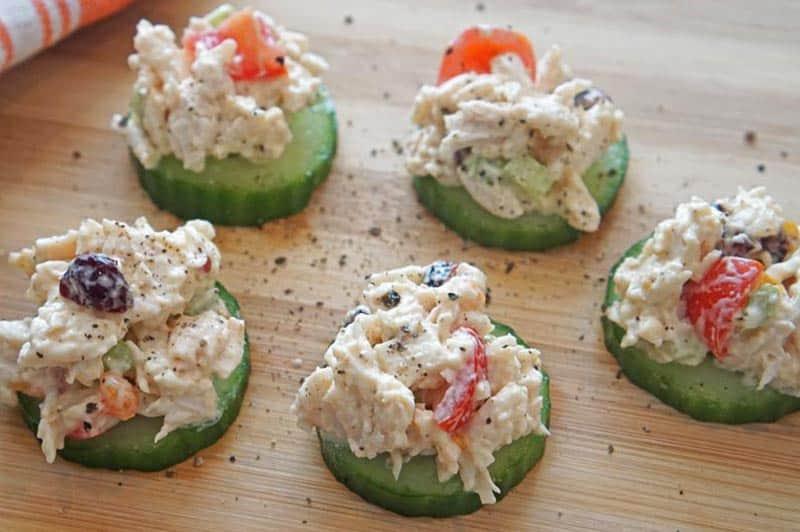 cranberry chicken salad cucumbers