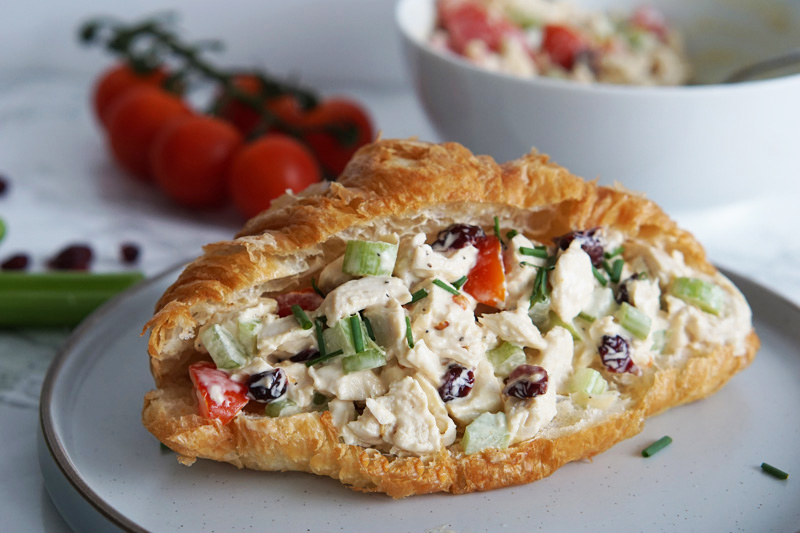 cranberry chicken salad on croissant
