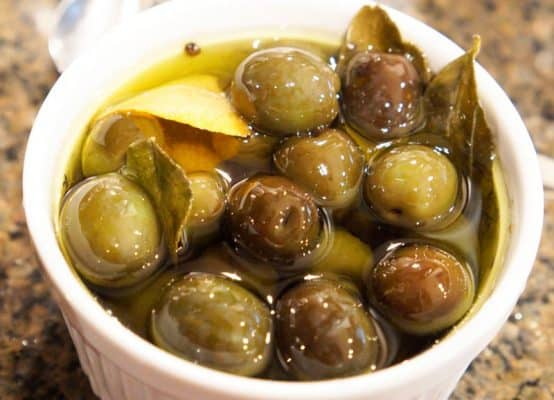 cooked marinated olives