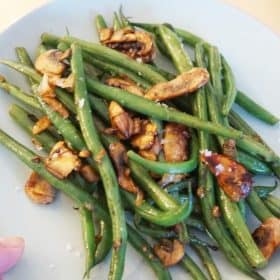 roasted green beans and mushroosm