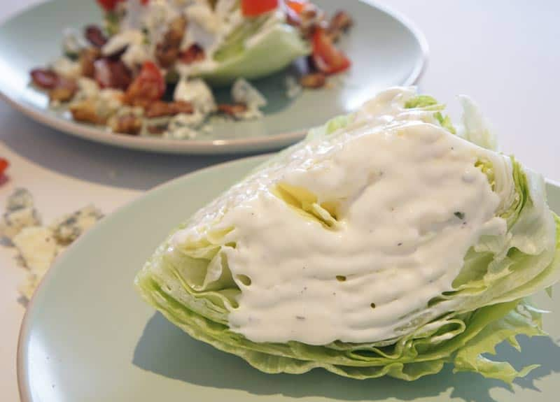 paint the wedge with blue cheese dressing