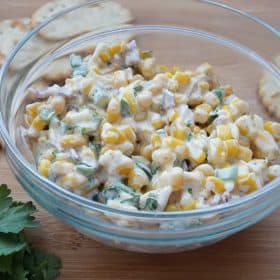 combined ingredients for corn, bacon and jalapeno salad
