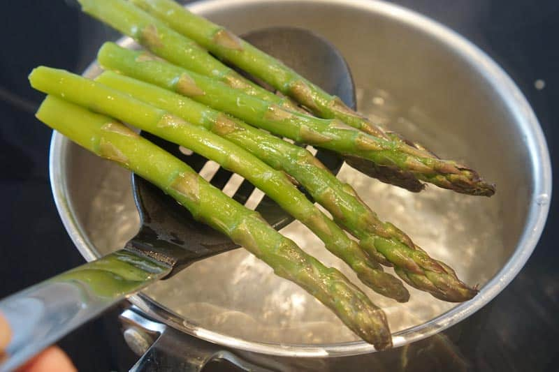 asparagus being blanched