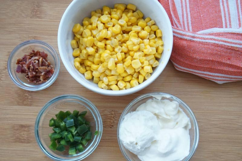bacon, jalapeno, corn and mayo or sour cream