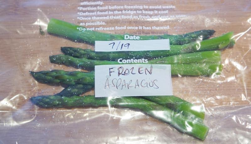 asparagus freezer bag