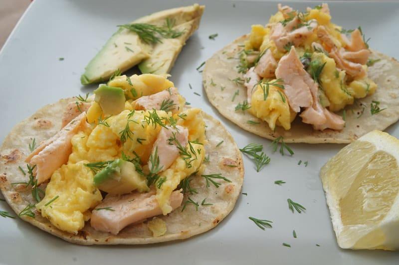 salmon avocado egg tacos