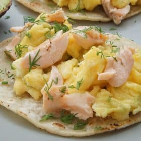 salmon and egg breakfast tacos
