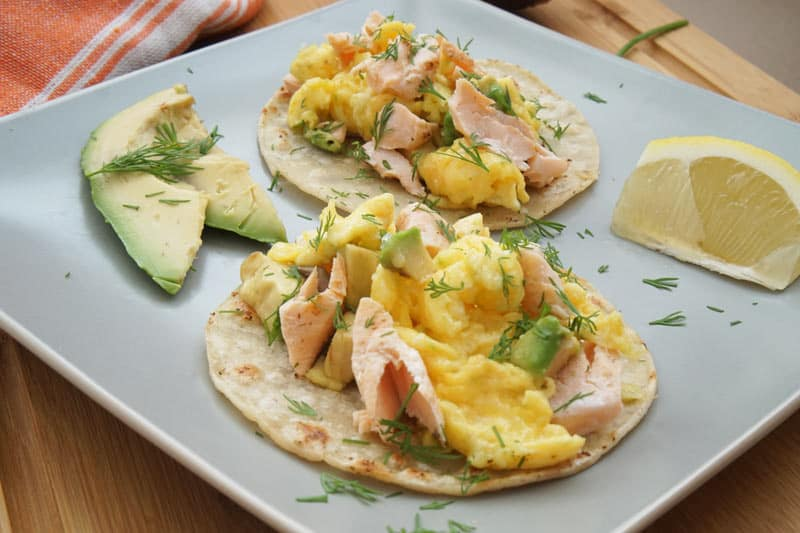 salmon, scrambled egg, avocado