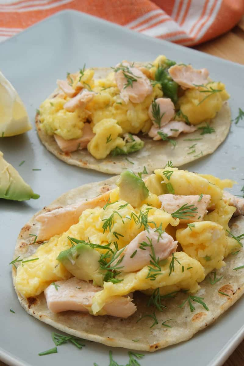 salmon, egg, avocado tacos