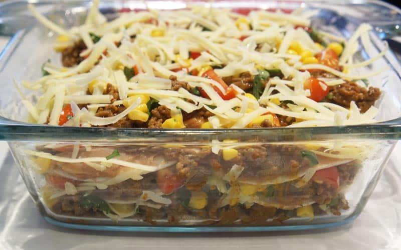 layered taco lasagna