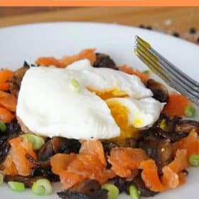 Smoked Salmon with mushrooms and a poached egg