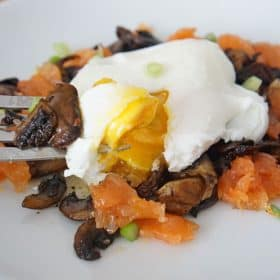 mushroom, salmon and poached eggs