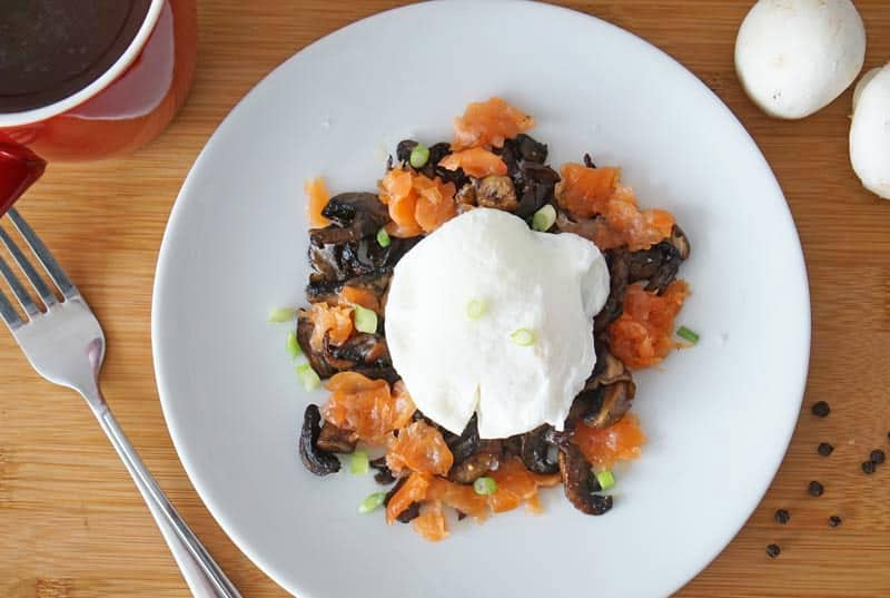smoked salmon, mushrooms and poached egg