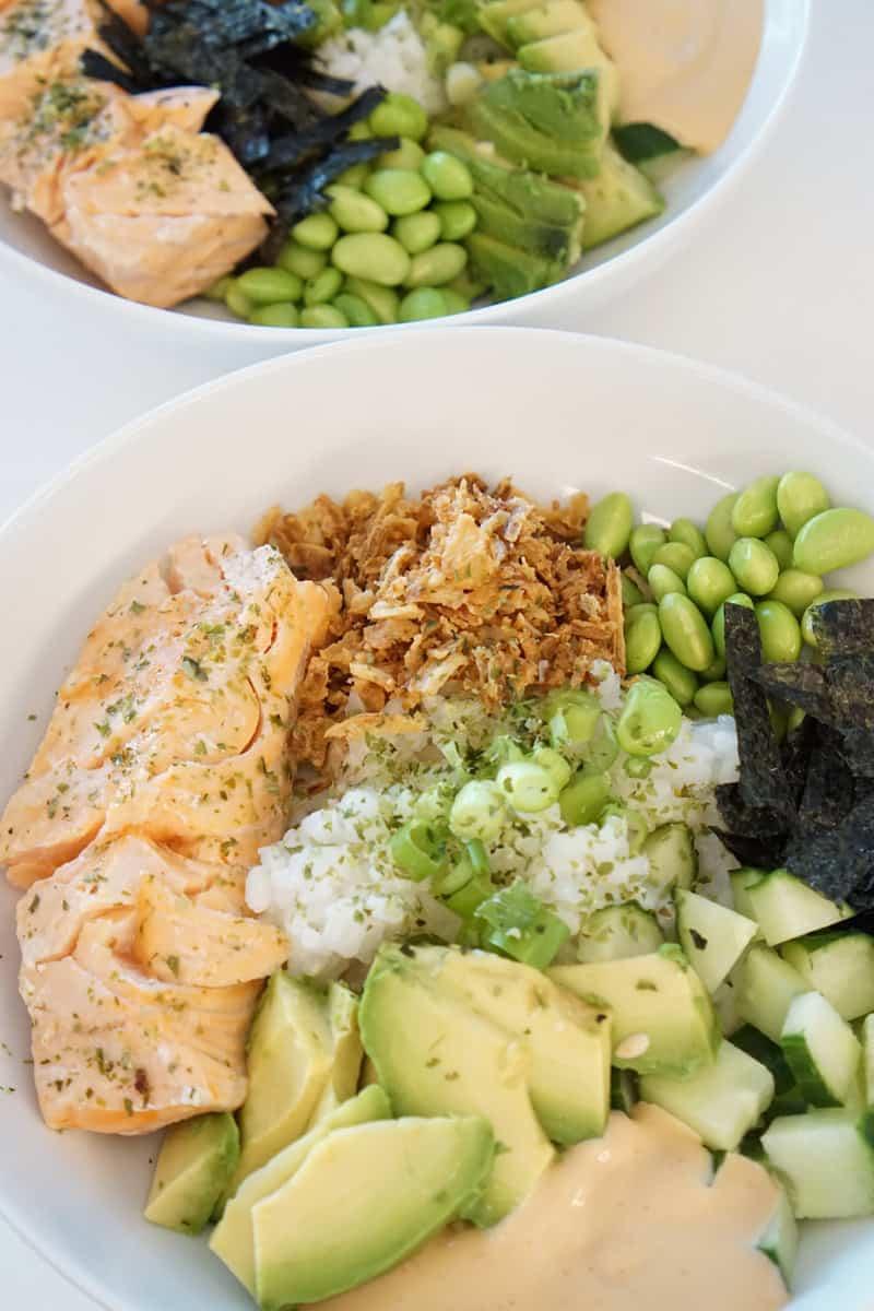 salmon sushi rice bowls