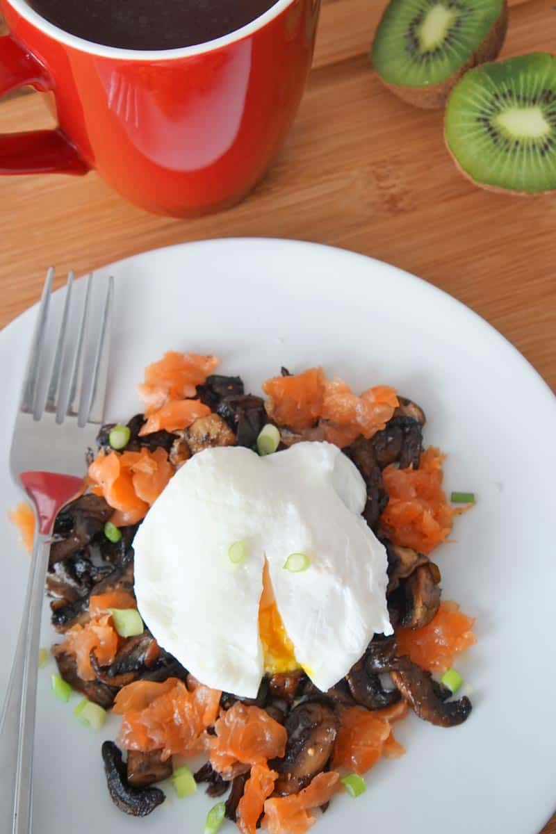 smoked salmon, mushrooms and egg