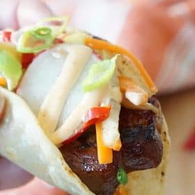 Asian pork belly tacos
