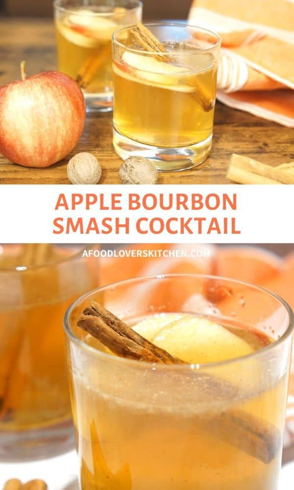 cinnamon apple bourbon smash