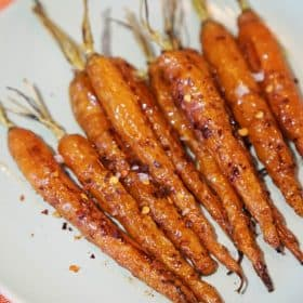 Miso glazed roasted carrots