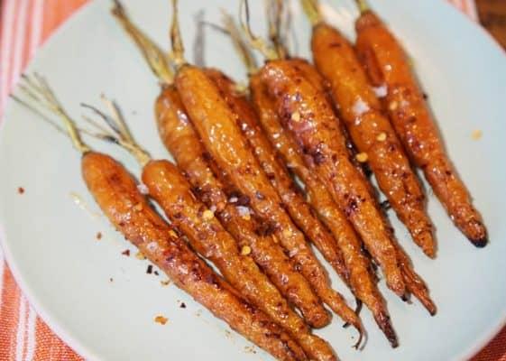 Miso glazed roasted carrots
