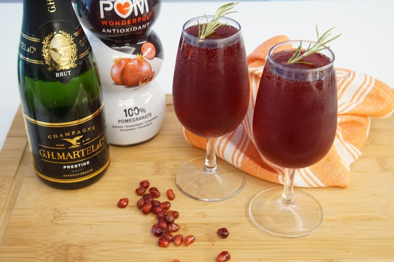 Pomegranate French 75 cocktail recipe
