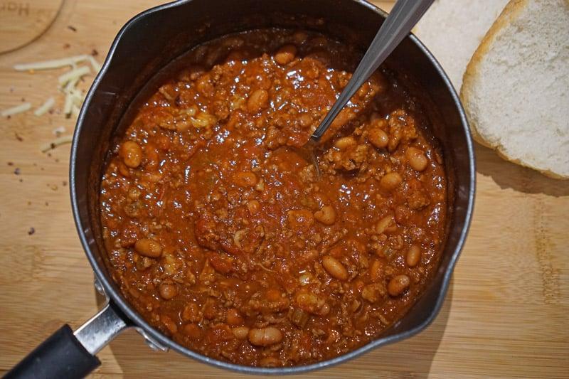Making a pot of chili