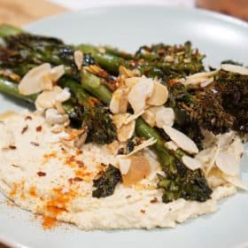 Roasted Broccoli and Hummus