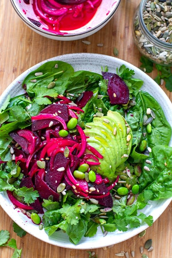 Beet, Avocado and Edamame Salad