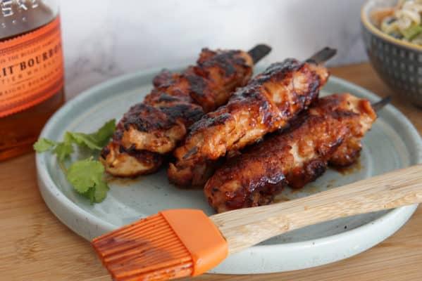 Bourbon Bacon BBQ Chicken Skewers
