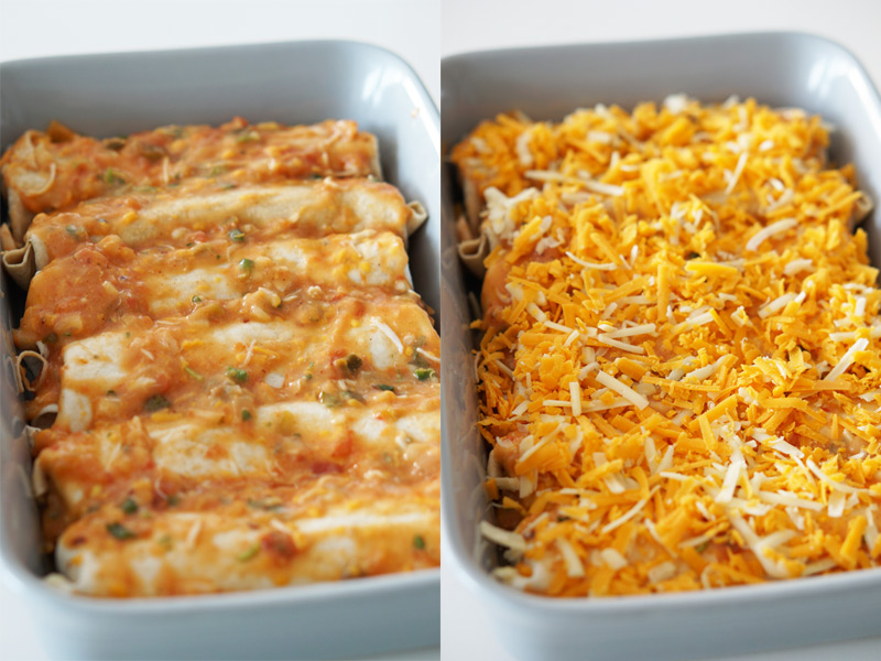 cover the enchiladas with cheese