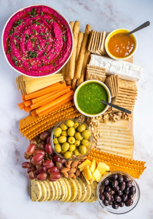 Cheese Board with Beetroot Hummus