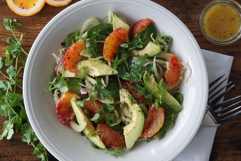 fennel, avocado, blood orange salad