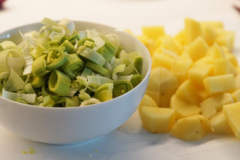 Chopped Potatoes and Leeks