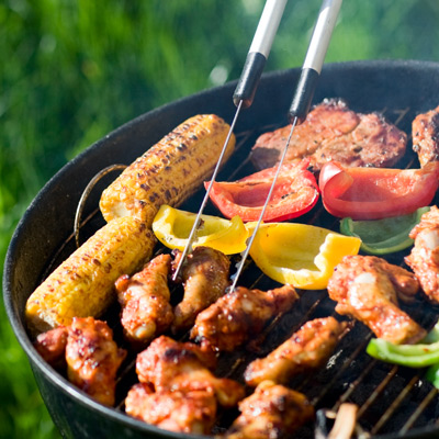 barbecuing outside
