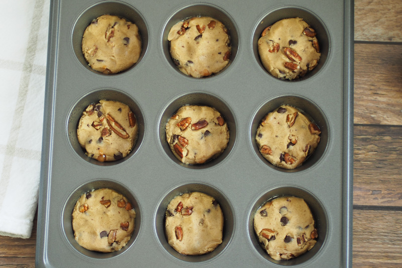 Chocolate Chip Cookie Dough in a Cupcake Pan