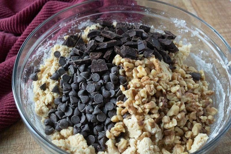 bowl with chocolate chips and walnuts