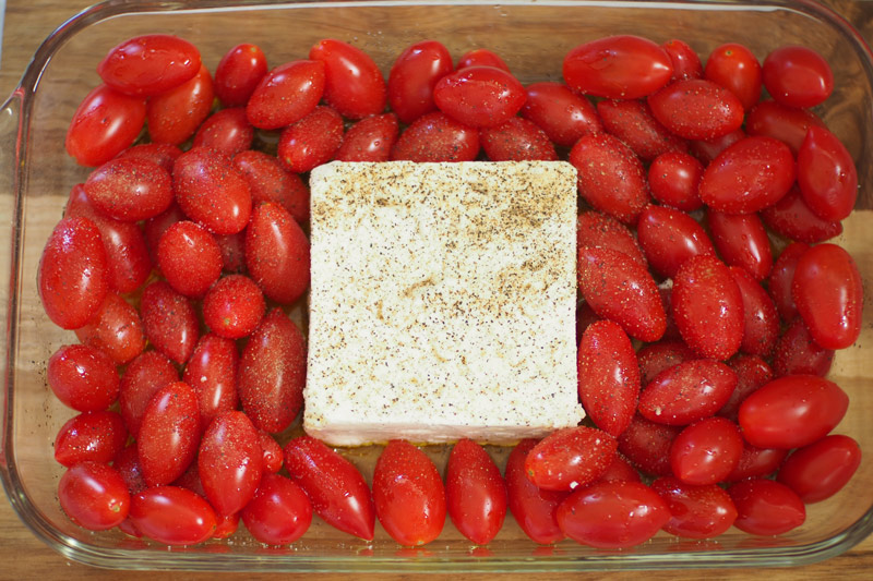 Cherry Tomatoes with a Block of Feta
