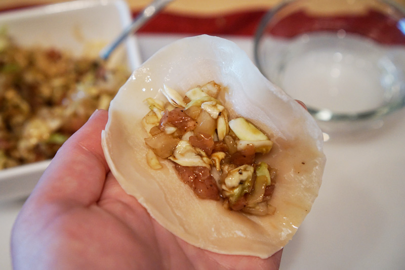 Gyoza wrapper with filling