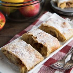 Slices of apple strudel