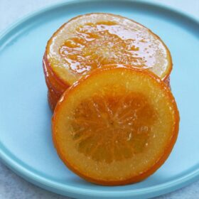 A pile of candied orange slices