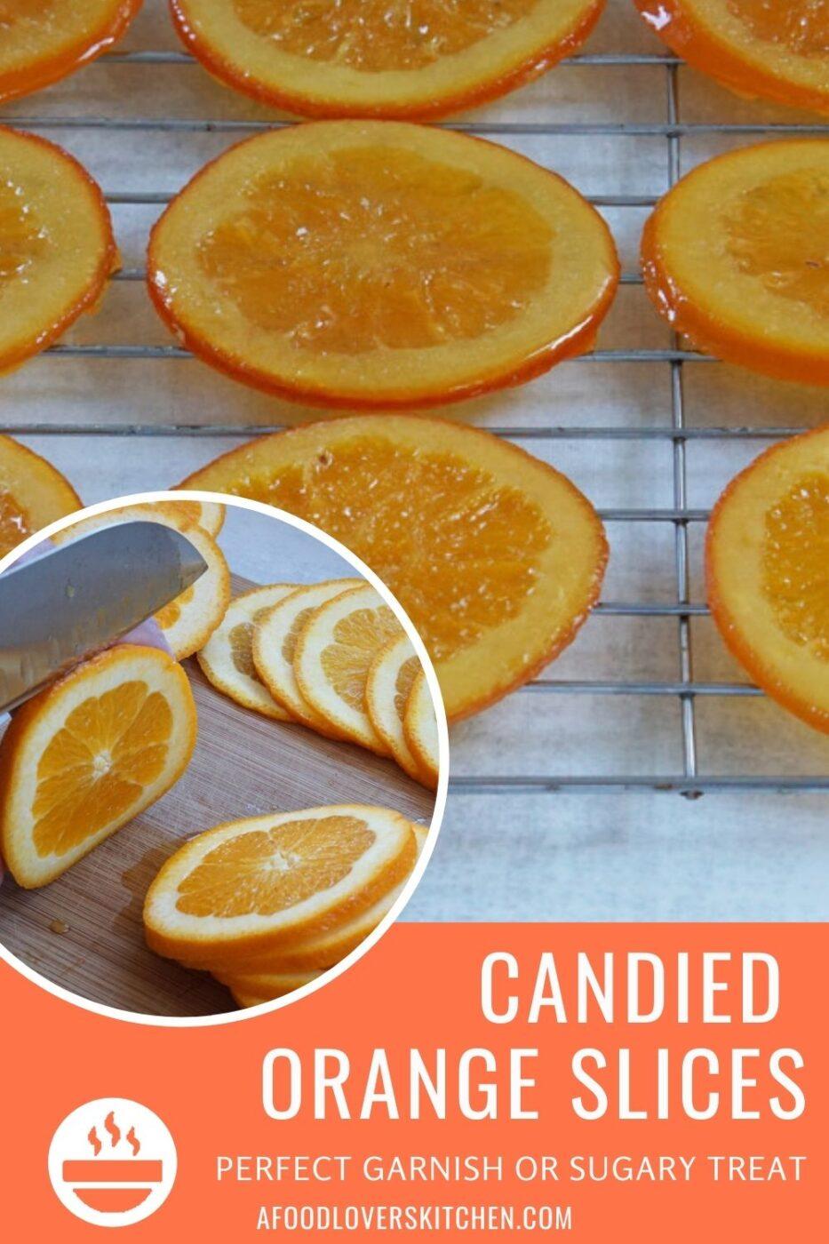 Fresh orange slices and candied oranges