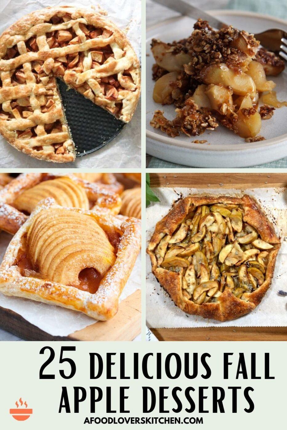 apple pie, apple crisp, apple tart and apple galette