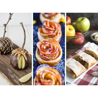 apple roses, apple strudel and chocolate covered apples