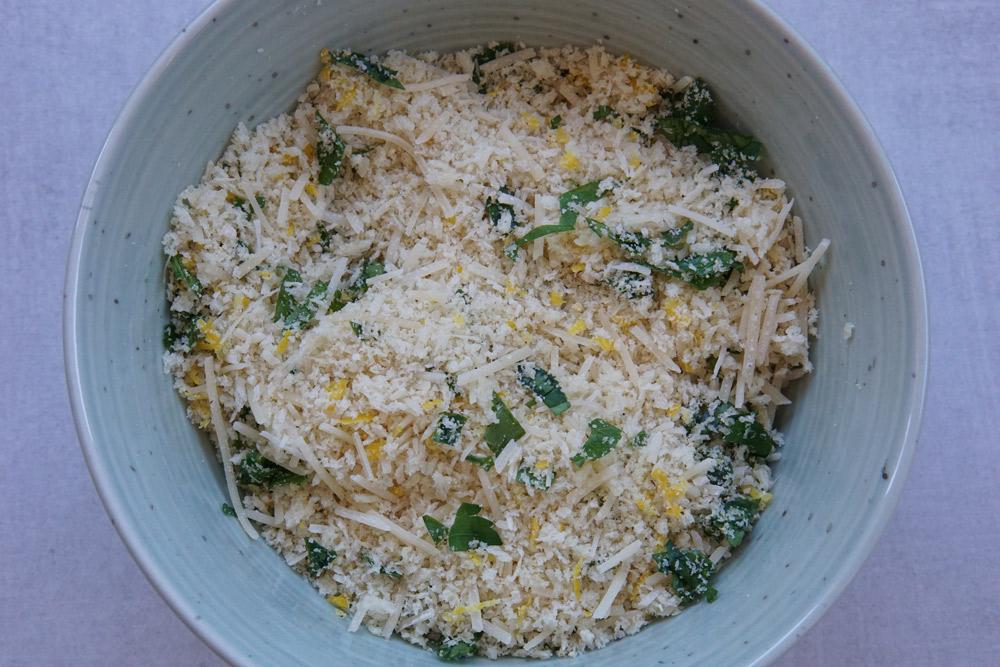 Bowl of parmesan topping