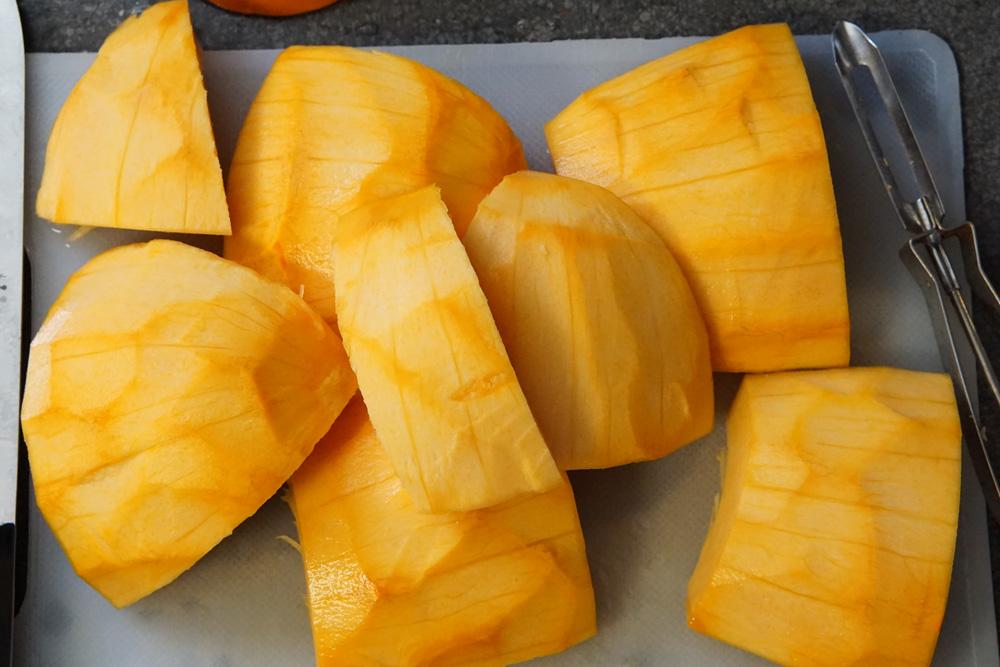 Raw pumpkin peeled and sliced